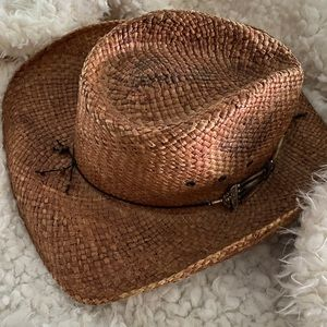 Hard straw cowboy hat for a girl